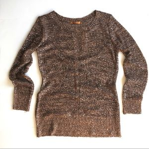 Sequin Crew Neck Sweater Black Coper, L
